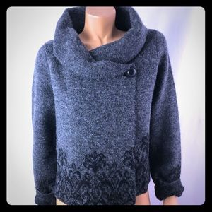 Adrienne Vittadini knit wool grey/black cardigan M